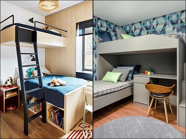 quarto para 2 crianças cama beliche em L 2