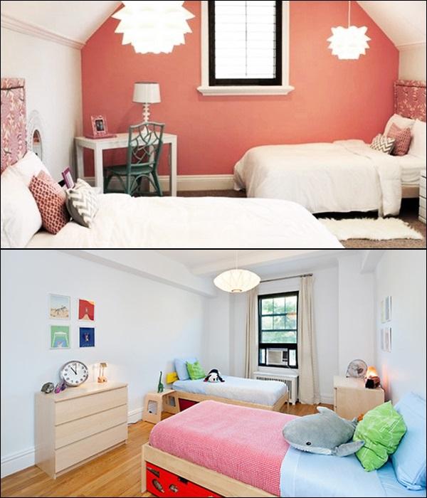 quarto para 2 crianças camas contrárias