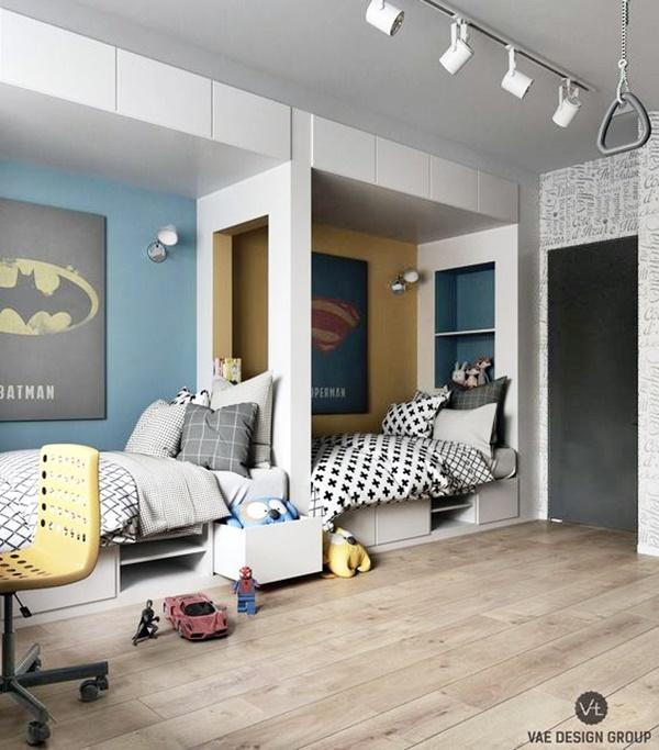 quarto para 2 crianças camas em linha
