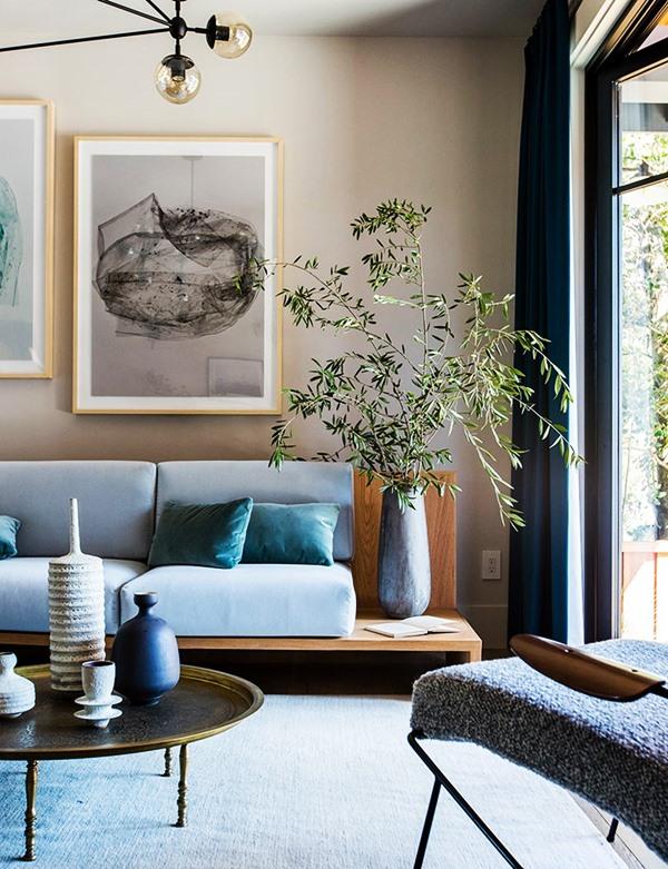 os 5 sentidos na decoração - sala azul e bege
