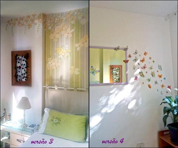 decoração de quarto com papel de parede e pintura