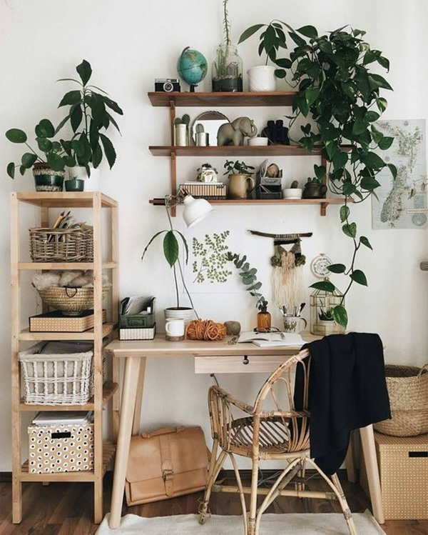 home office pequeno com plantas