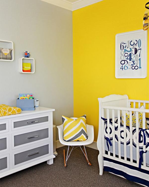 quarto de bebe amarelo e cinza