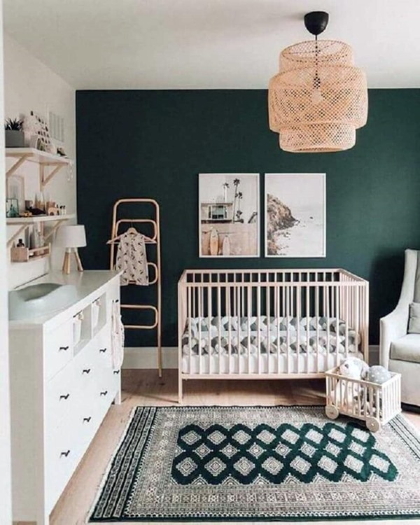 quarto de bebe branco e verde