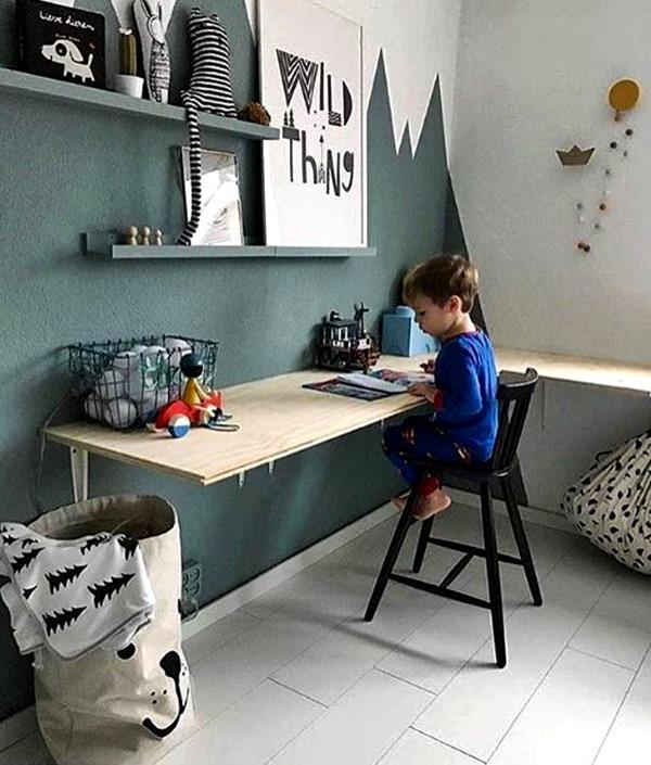quarto de crianca parede cor escura