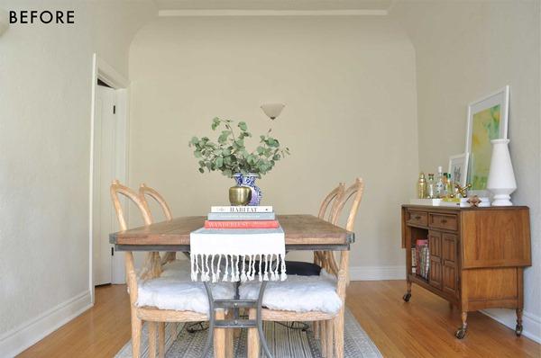 sala de jantar em cores claras antes
