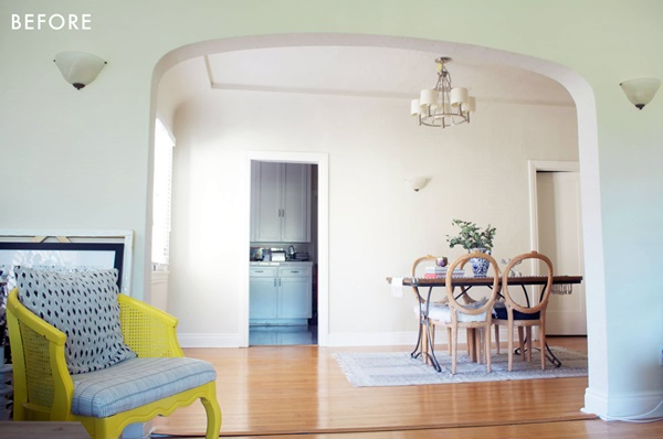 salas de estar e jantar em cores muito claras