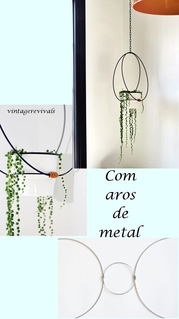 pendurando vaso de planta com aros de metal