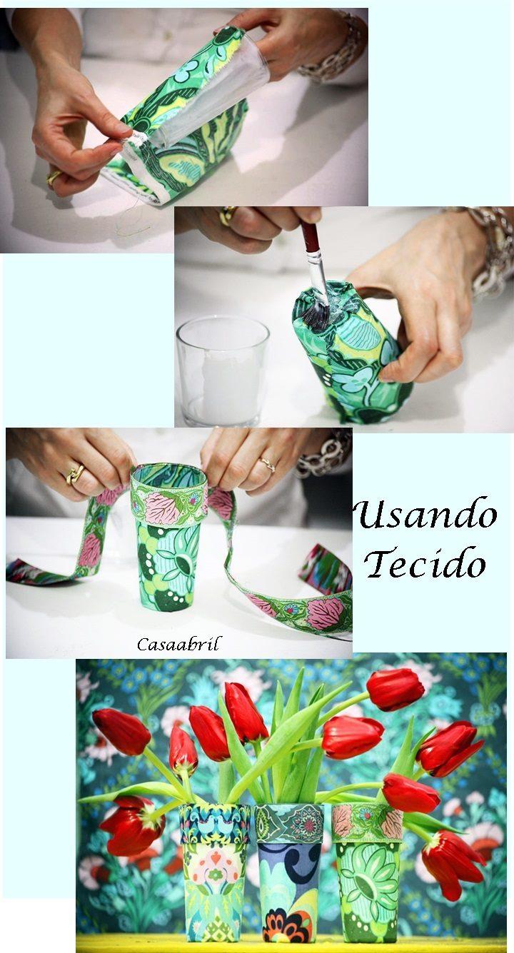 copo revestido com tecido para flores