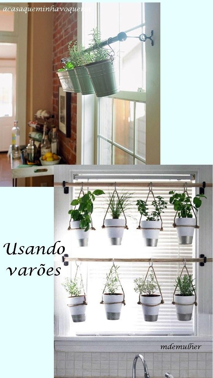 plantas na janela presas com varão