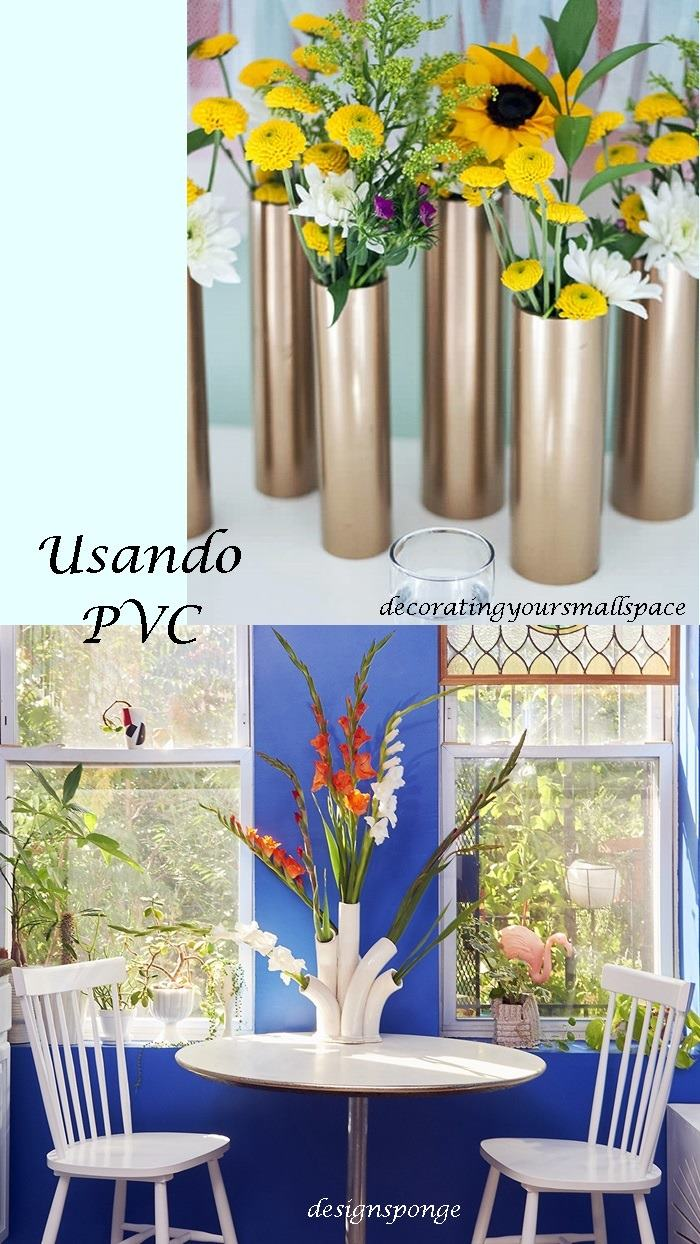 tubos de pvc usados como vasos de flores