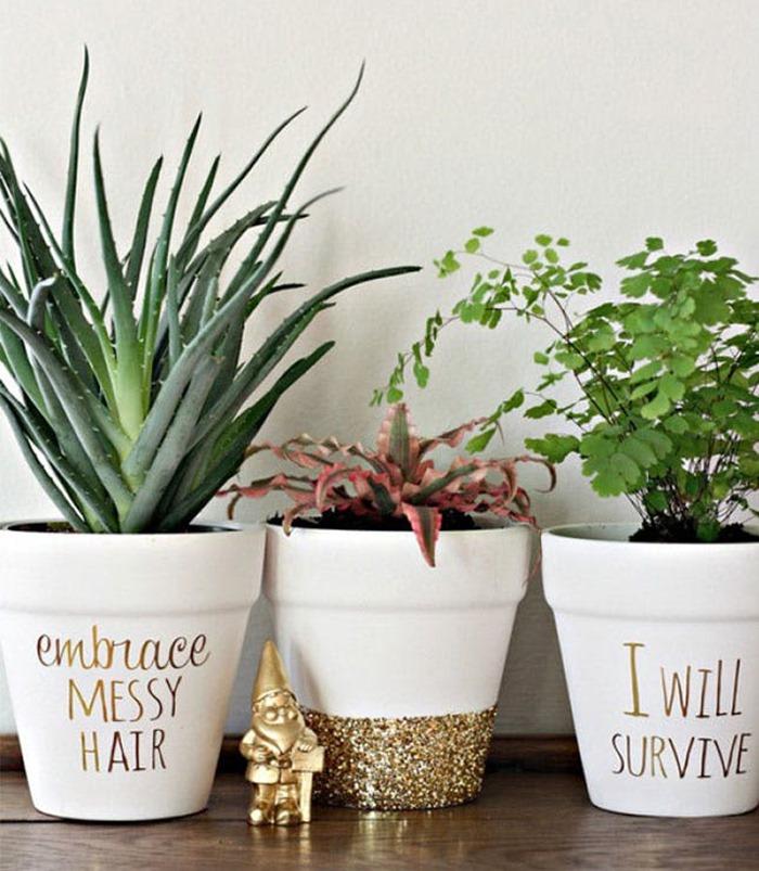 vasos decorados com frases
