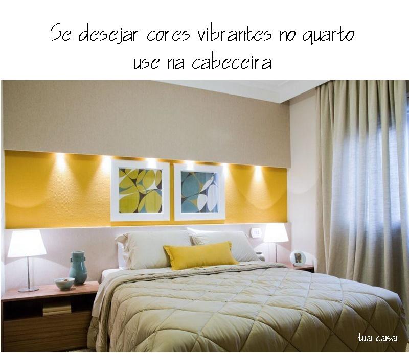 cor vibrante no quarto, só na cabeceira