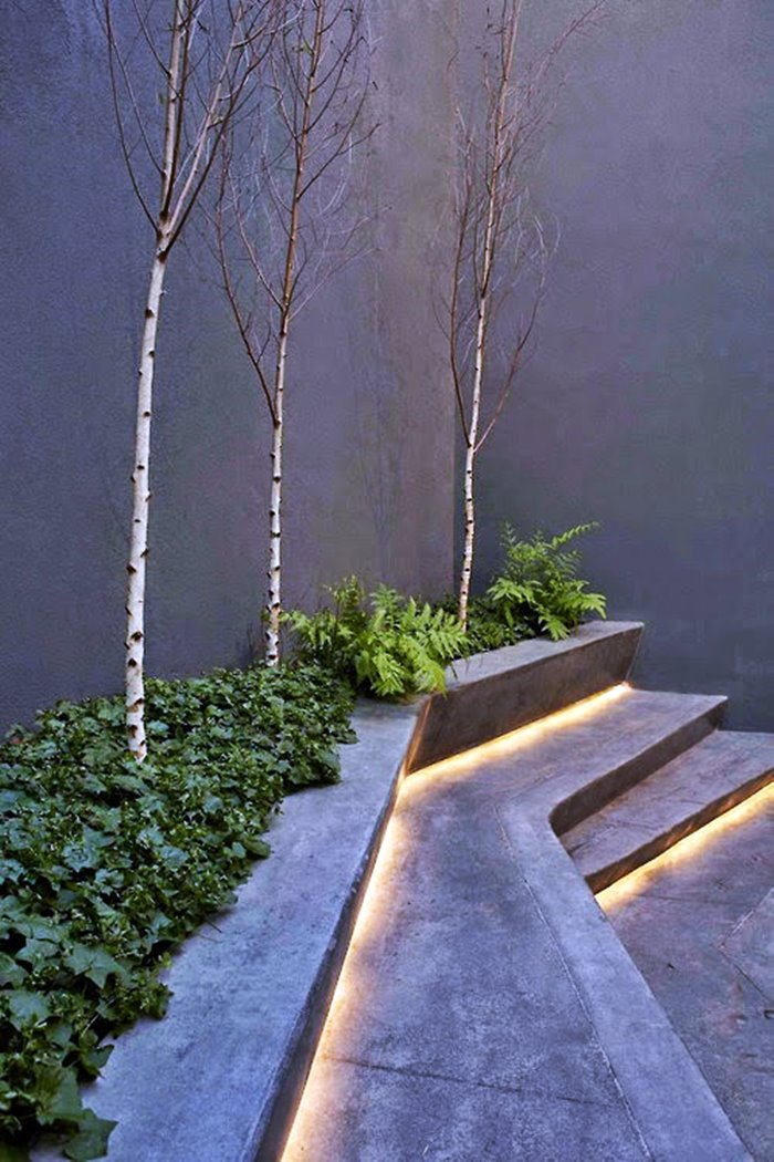 jardim minimalista iluminado com led