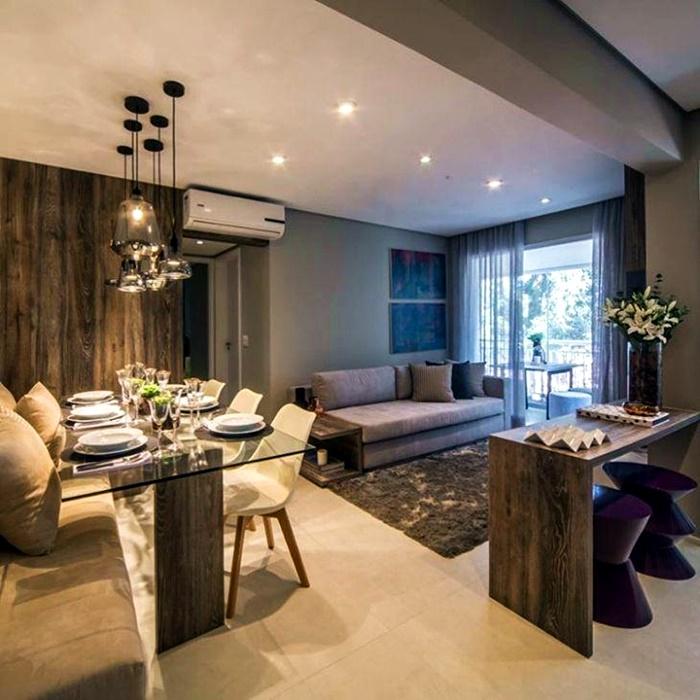 Sala de estar e jantar em marrom e bege