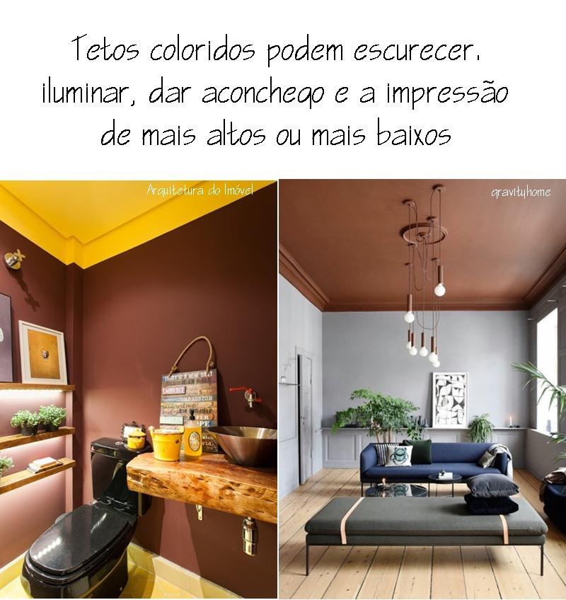 tetos coloridos ajudam com pé direito baixo ou alto