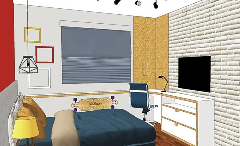 quarto jovem com office e tv - comprar on-line