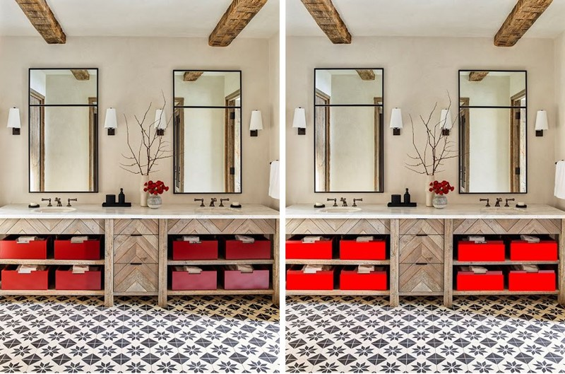 comparação uso de vermelhos diferentes na decoração