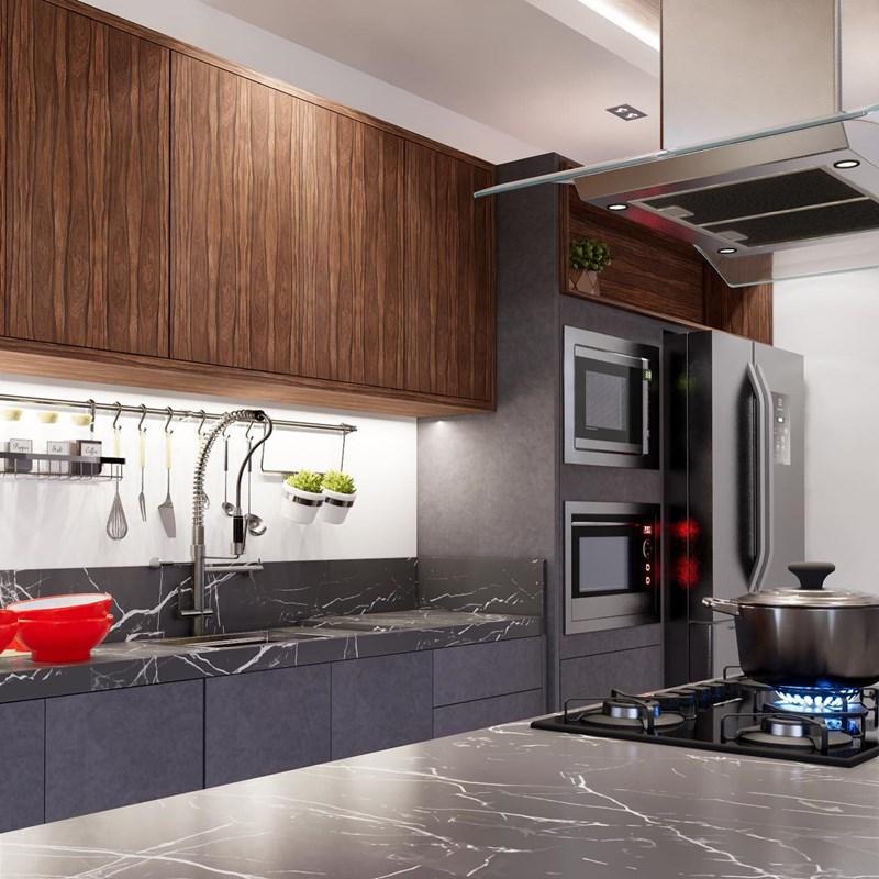 cozinha com padrão pau ferro arauco