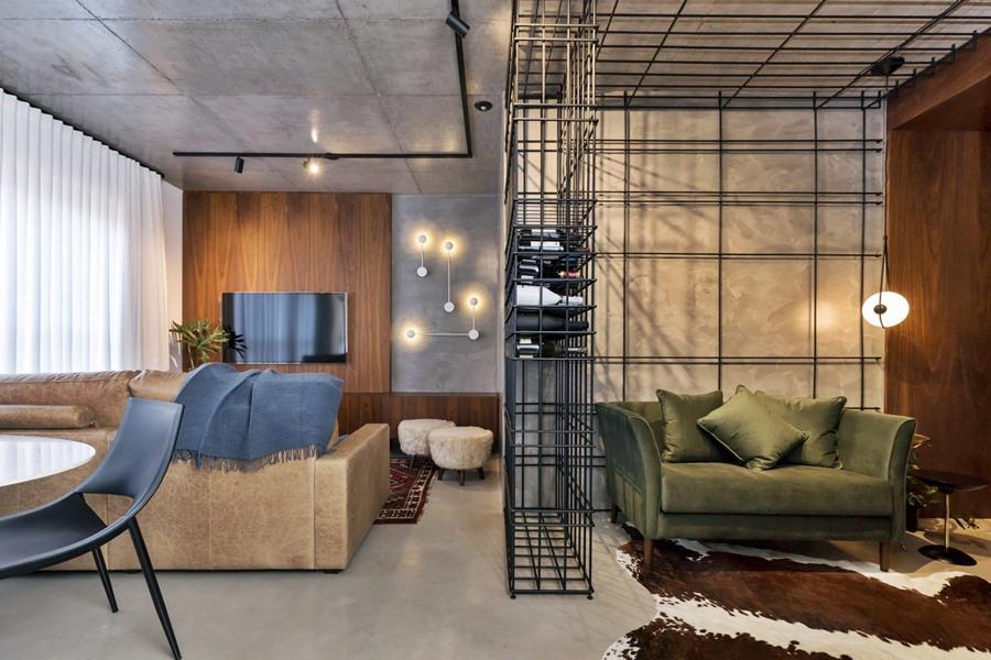 Sala estar e jantar estilo industrial