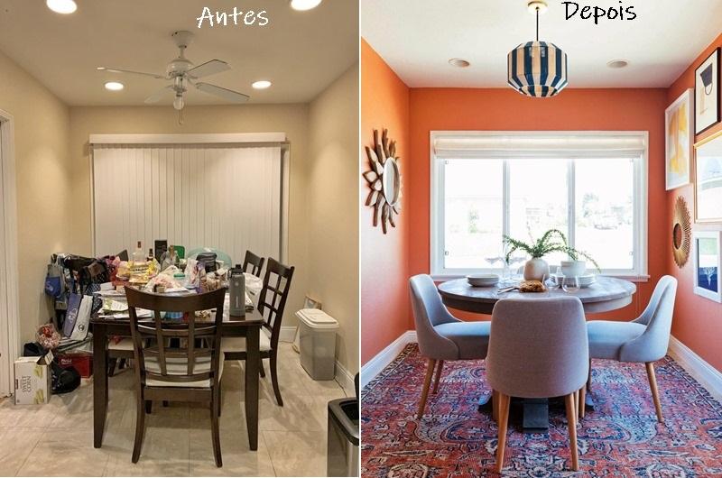 como decorar salas pequenas ? Antes e depois de sala de jantar