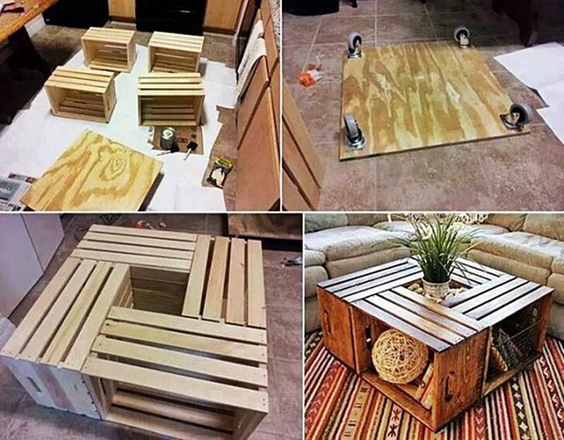 Mesa feita com caixotes