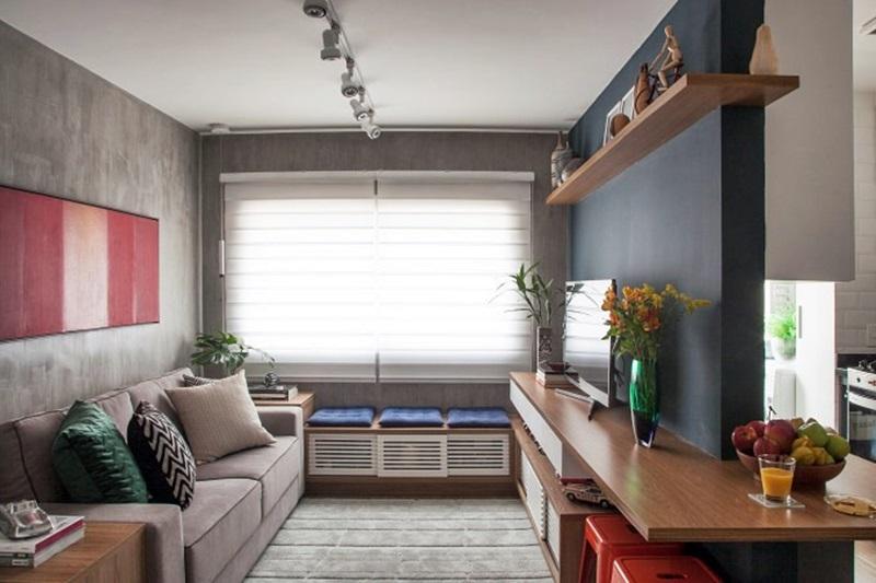 sala pequena com cozinha aberta