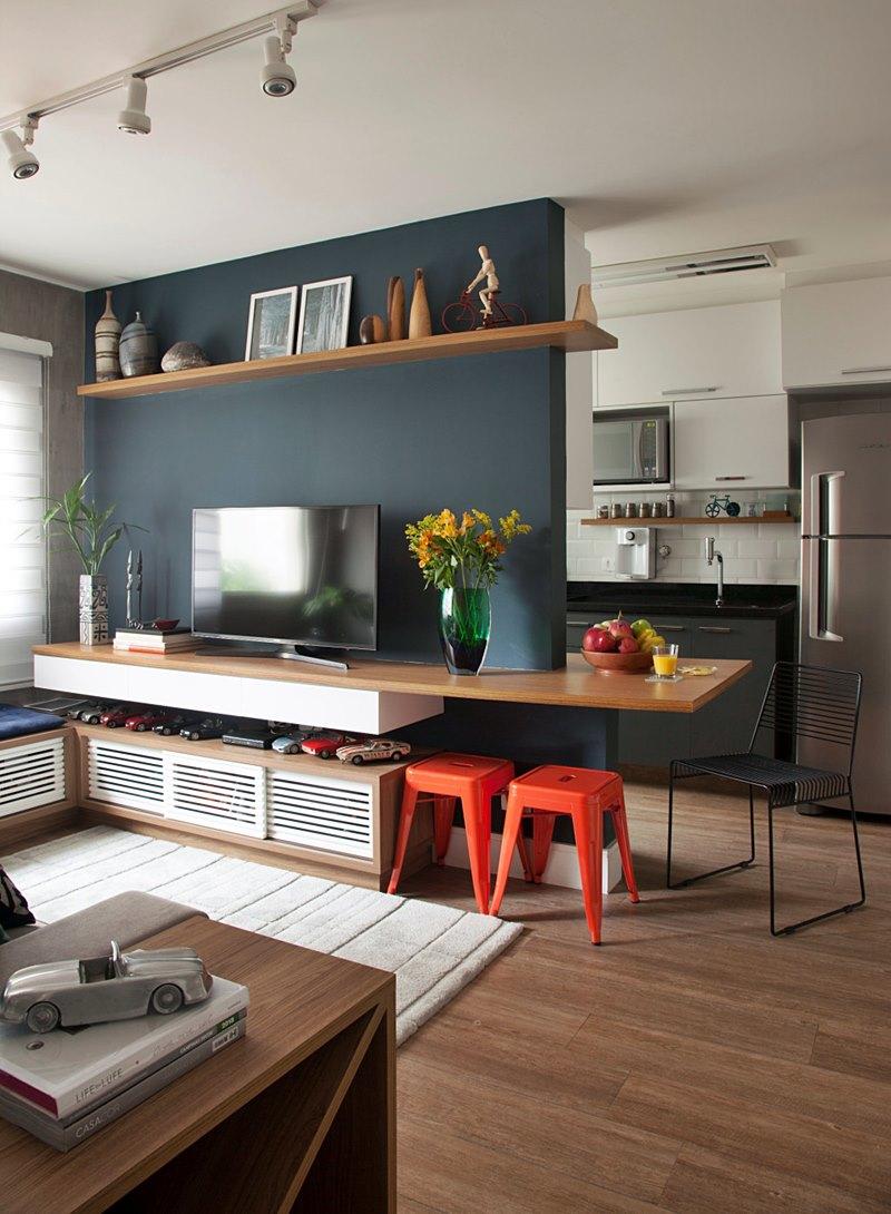 sala pequena aberta para a cozinha