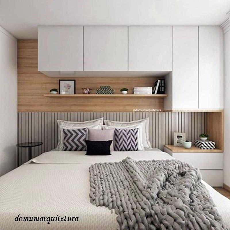 Quarto em cores neutras e madeira