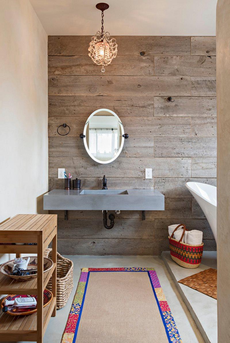 Banheiro cimento queimado e madeira