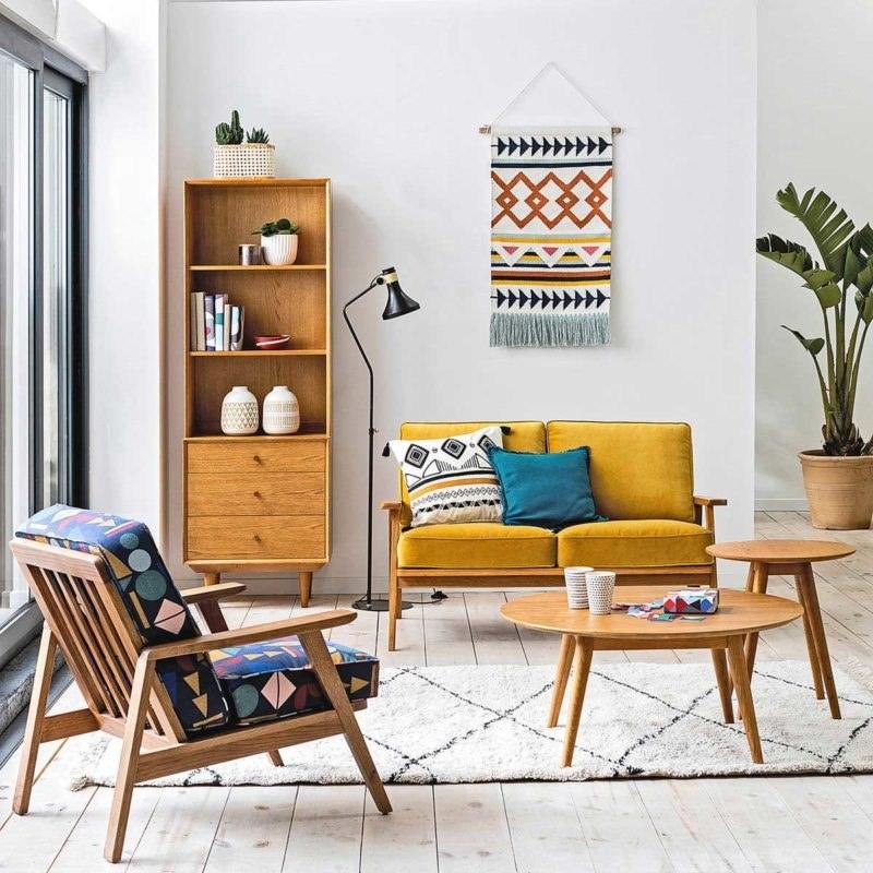 sala estilo escandinavo móveis coloridos