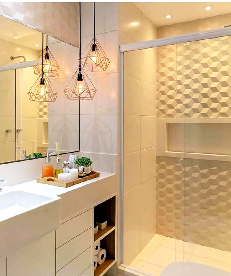 banheiro pequeno com box com revestimento 3D