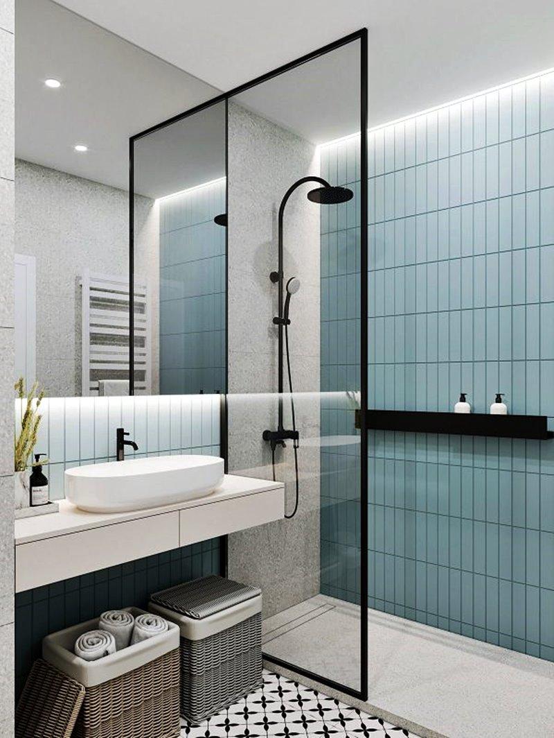 Banheiro estilo industrial azul preto e branco
