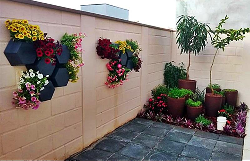 Projeto jardim em vasos no espaço pequeno