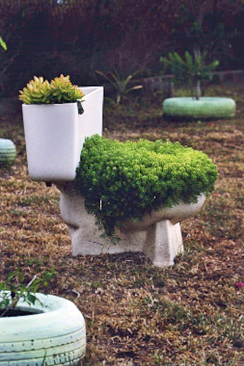vaso sanitário no jardim