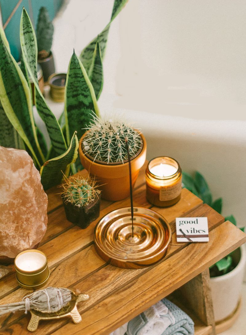 plantas pedras e incenso no cantinho zen
