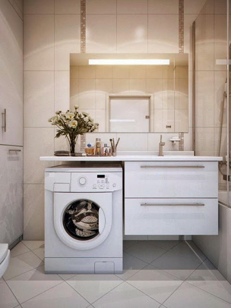 Espaços multifuncionais - maquina de lavar no banheiro