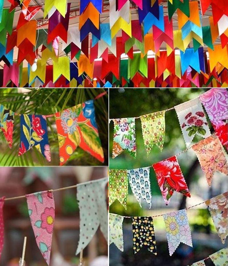 festa junina em casa decoração com bandeirinhas