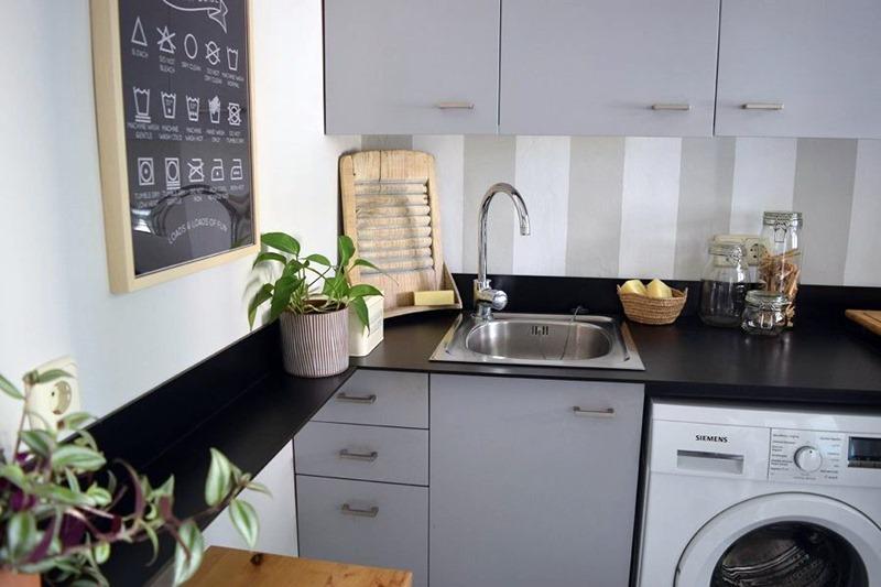 maquina de lavar na cozinha