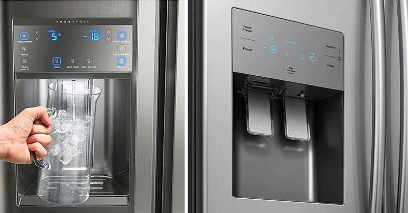 dispenser de gelo e água de geladeira