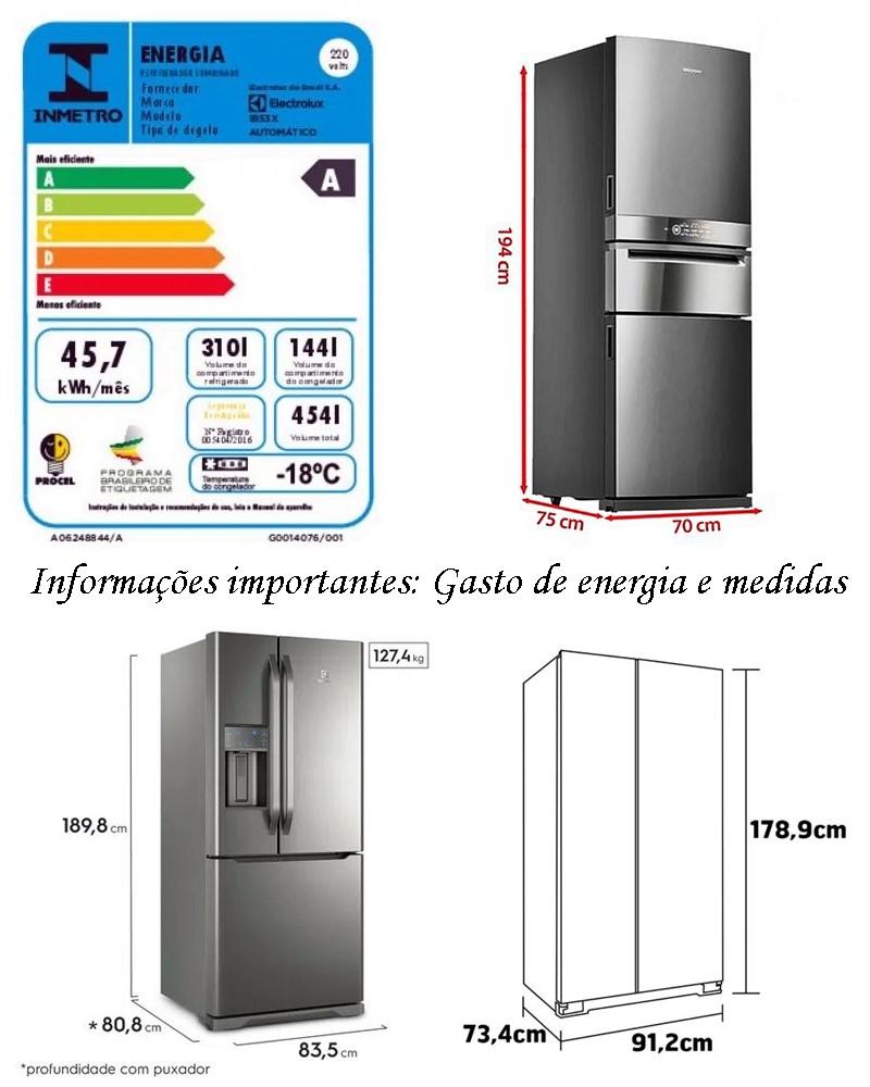 consumo de energia e medidas geladeira