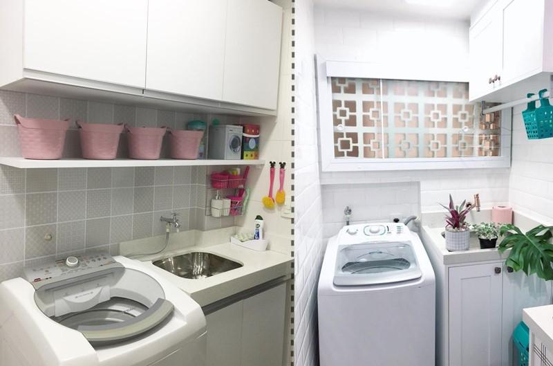 Área de serviço com máquina de lavar com abertura superior