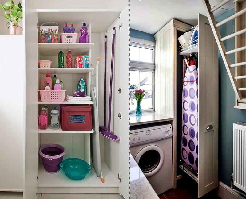 armário grande em área de serviço e área com armário para tábua de passar