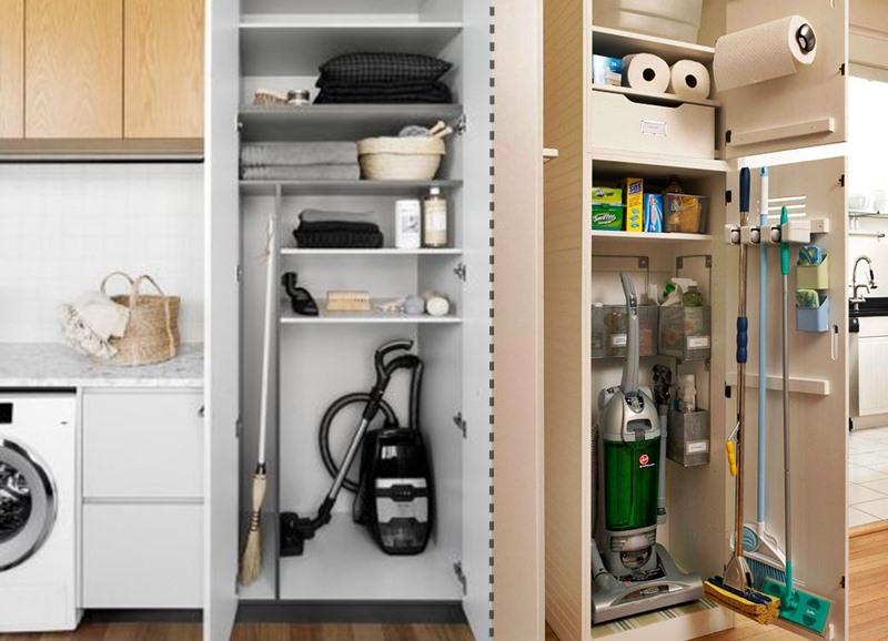 armários para guardar aspirador, vassouras, tábua de passar na área de serviço