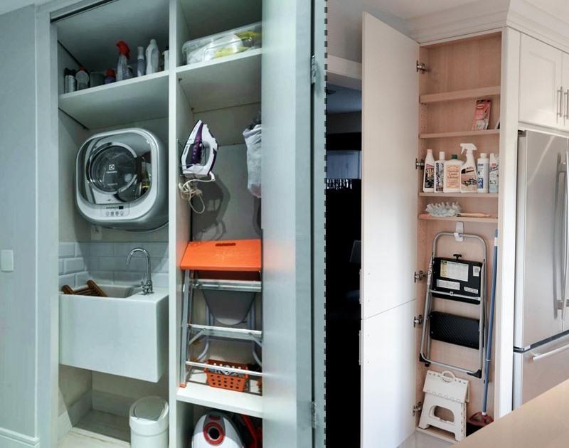 área de serviço com máquina pequena embutida e pequeno armário para guardar escada
