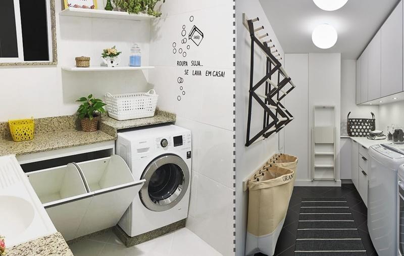áreas de serviço com lugar para guardar roupa suja e limpa