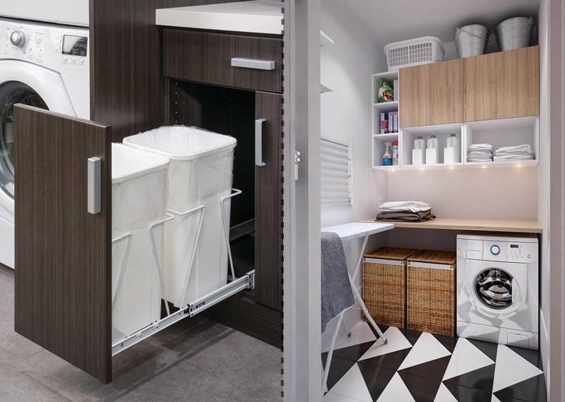 áreas de serviço com espaço para guardar roupa suja e limpa