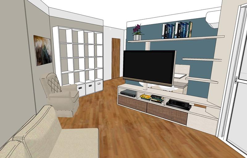 Projeto de decoração para uma sala irregular- segunda opção - vista
