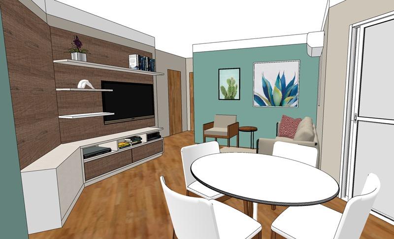 Projeto de decoração para uma sala irregular- terceira opção - vista