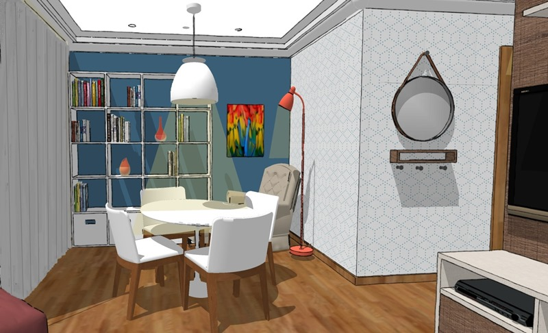 Projeto de decoração para uma sala irregular- terceira opção - vista 2